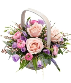 pale pink and lilac basket